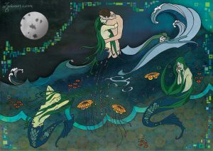 three mermaids beneath a full moon