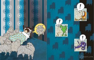 Percy's room full of sheep, and the monsters complaining about being sat on