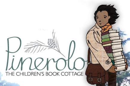 Pinerolo logo and youth holding stack of books